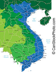Vietnam map - Detailed vector map of Vietnam with country...
