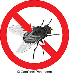 Flies banned Sign prohibited Vector illustration