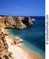 Beach, Praia da Marinha, Portugal. - Large rocks along the...