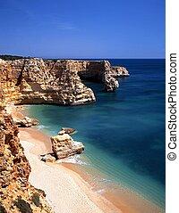 Beach, Praia da Marinha, Portugal. - Large rocks along the...