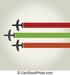 Plane - Three planes together fly. A vector illustration