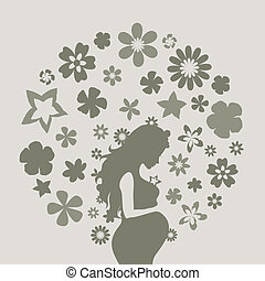 Pregnant girl8 - The pregnant girl and flowers. A vector...