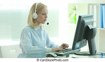 Online order - Pretty female customer support representative...