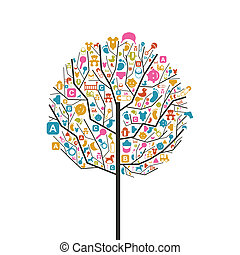 Tree baby - Tree with a crone from subjects baby A vector...