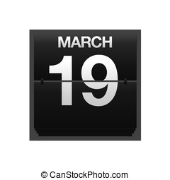 Counter calendar march 19. - Illustration with a counter...
