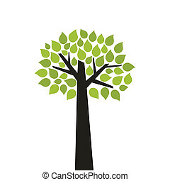 Tree wood - Tree with a green crone A vector illustration