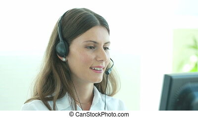 Telemarketing - Young woman building her career in the...