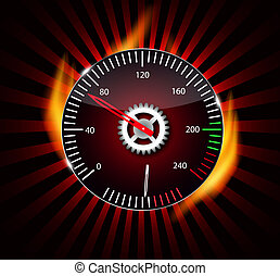 Checkered flag, speedometer. Vector Illustration. eps 10.