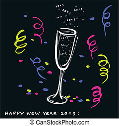 New year glass of champagne-vector - New year toast-vector...