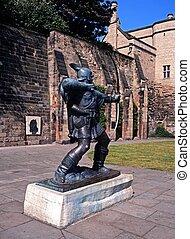 Robin, capucha, estatua, Nottingham, Reino Unido
