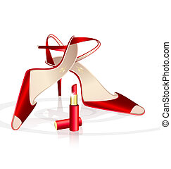 red woman's shoes with lipstick - on a white background are...