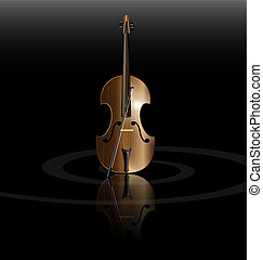 string instrument - on black background is the abstract...