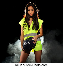 Sexy woman with safety jacket or vest and helmet - Very...
