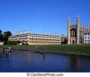 Kings College, Cambridge, UK - Kings College with punts on...