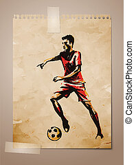 Football, Soccer Player Sketch on Aged Note Paper | EPS10...