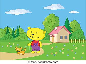 Teddy bear walking with a dog