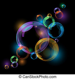 Black bubble vector background - Black abstract background...
