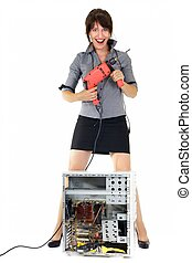 woman technology exterminator