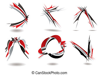 ribbon logo twist - Collection of six ribbon design that...