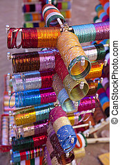 Indian bracelets of different colors and sizes