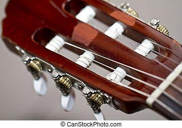 tête, cou, classique, acoustique, guitare