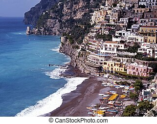 Town and coast, Positano, Italy. - View over town and down...