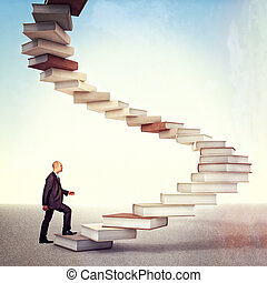book stair and man - young businessman go up on 3d books...