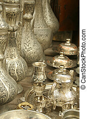 Ottoman tea set between silver ottoman bottles and objects