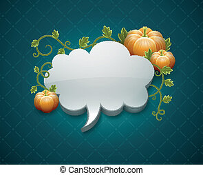Thanksgiving day card with pumpkins and cloud for message