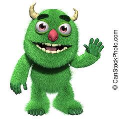 3d cartoon cute furry monster