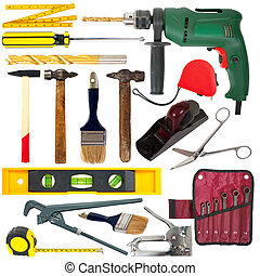 set of work tools. Isolated over white