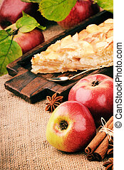 Piece of homemade apple pie in vintage setting