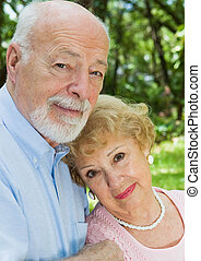 Devoted Senior Couple - Portrait of a loving, devoted senior...