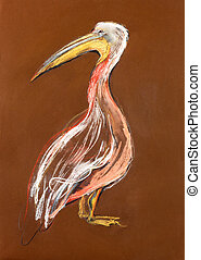 Sketch of a pelican - Original pastel and hand drawn...
