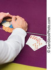 Man grabbing chips close-up