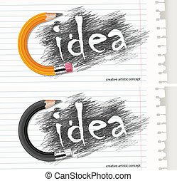 Hand drawn letters with circle pencil & text