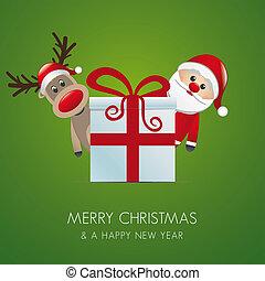 reindeer santa claus gift box - reindeer santa claus...