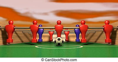 Foosball Table One Team On A Red Sky - One half of a...
