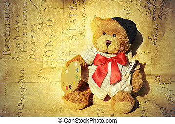 teddy, dressed painter - background teddy dressed as a...