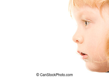 Profile of a girl - Close-up of little redhead girl�s...