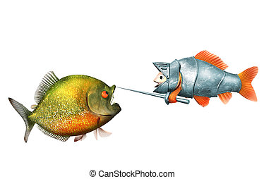 goldfish knight and piranha, duel concept - goldfish knight...
