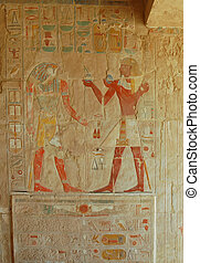 Relief of Thutmosis III offering wine to Sokaris god, Egypt