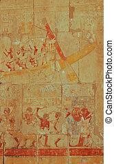 Egyptian boat sailing relief on wall in Hatshepsut temple,...