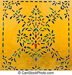 Traditional Thai style art of stained glass floral pattern