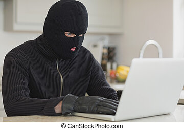 Burglar hacking a laptop - Burglar sitting in the kitchen...