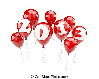 signe, année, nouveau,  air, Ballons,  2013