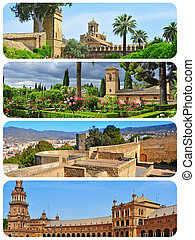 landmarks in Andalusia, Spain, collage - a collage of four...