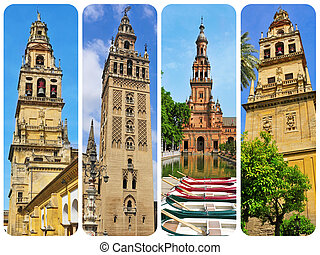 towers in Andalusia, Spain, collage - a collage of four...