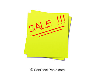 Sticky note sale - yellow sticky note and red sale, white...