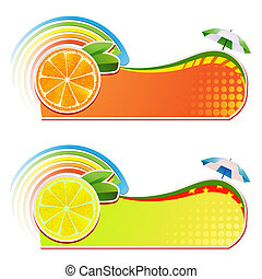 Slices orange  and lemon ,juicy fruit,banner